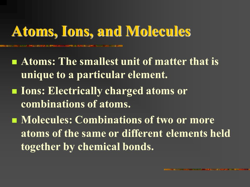 Atoms, Ions, and Molecules