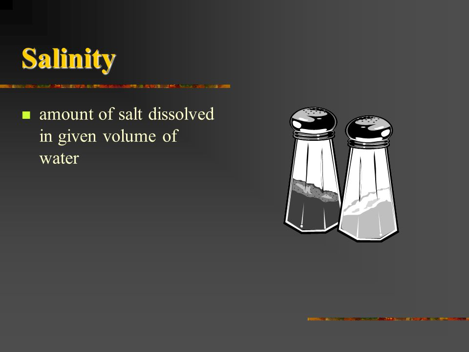 Salinity amount of salt dissolved in given volume of water