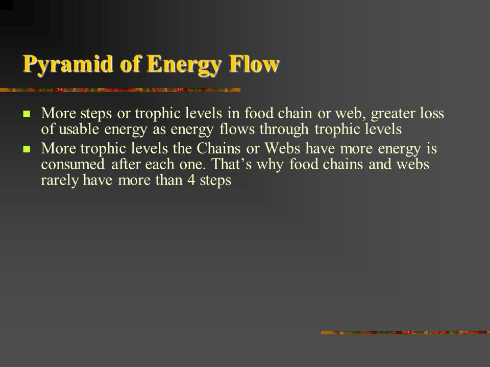 Pyramid of Energy Flow More steps or trophic levels in food chain or web, greater loss of usable energy as energy flows through trophic levels.