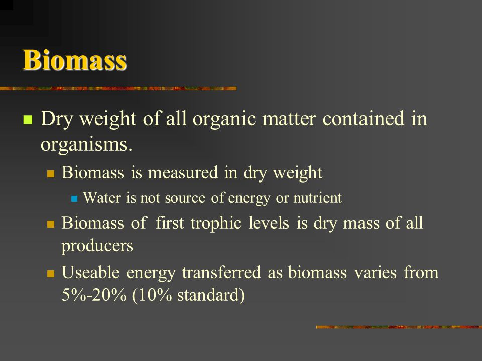 Biomass Dry weight of all organic matter contained in organisms.