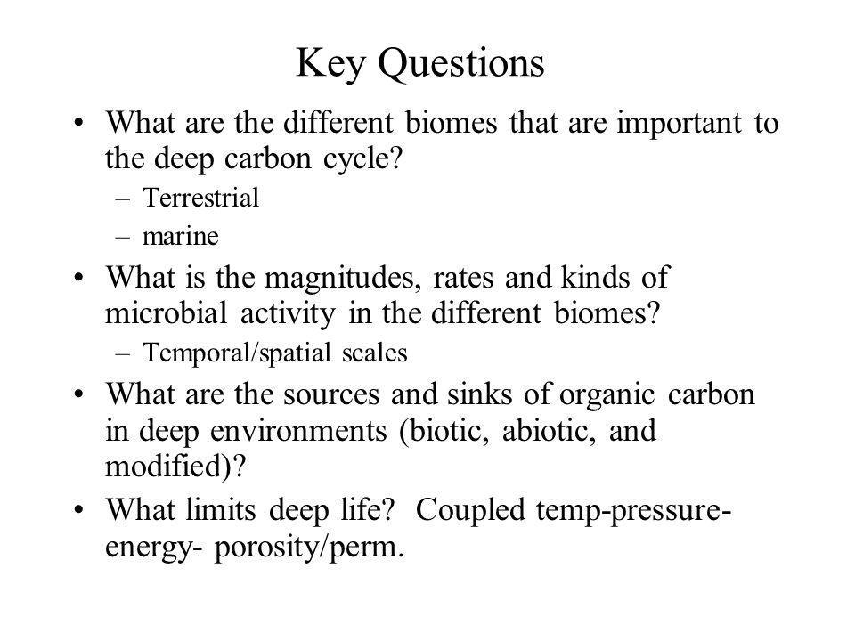 Key Questions What are the different biomes that are important to the deep carbon cycle Terrestrial.