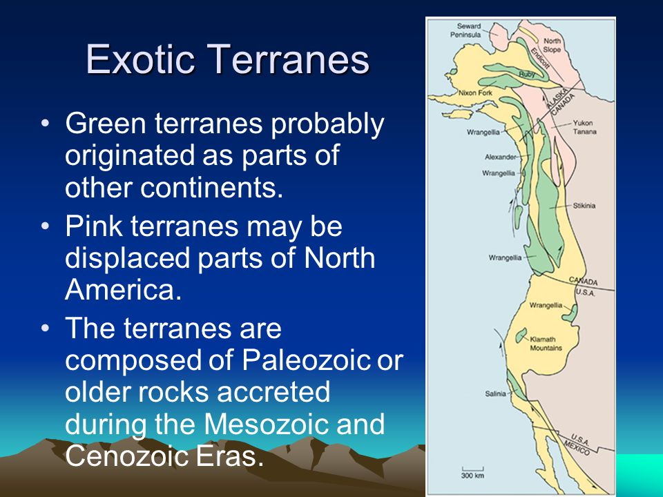Exotic Terranes Green terranes probably originated as parts of other continents. Pink terranes may be displaced parts of North America.
