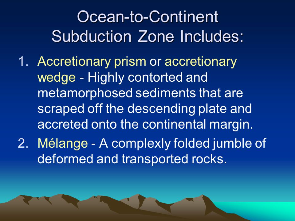 Ocean-to-Continent Subduction Zone Includes: