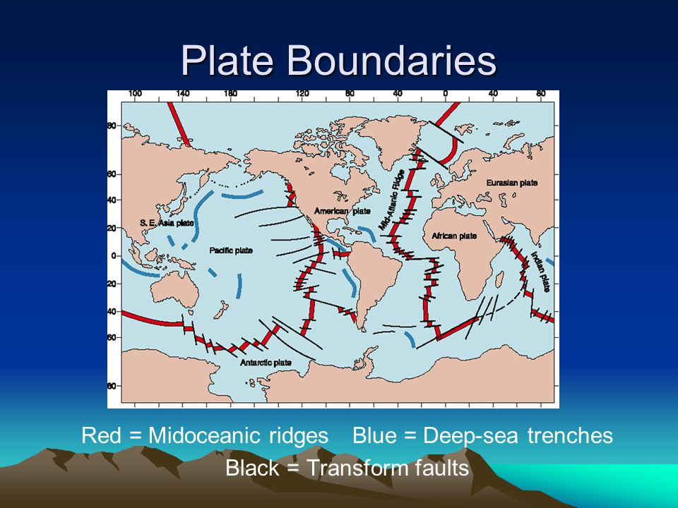 Plate Boundaries Red = Midoceanic ridges Blue = Deep-sea trenches