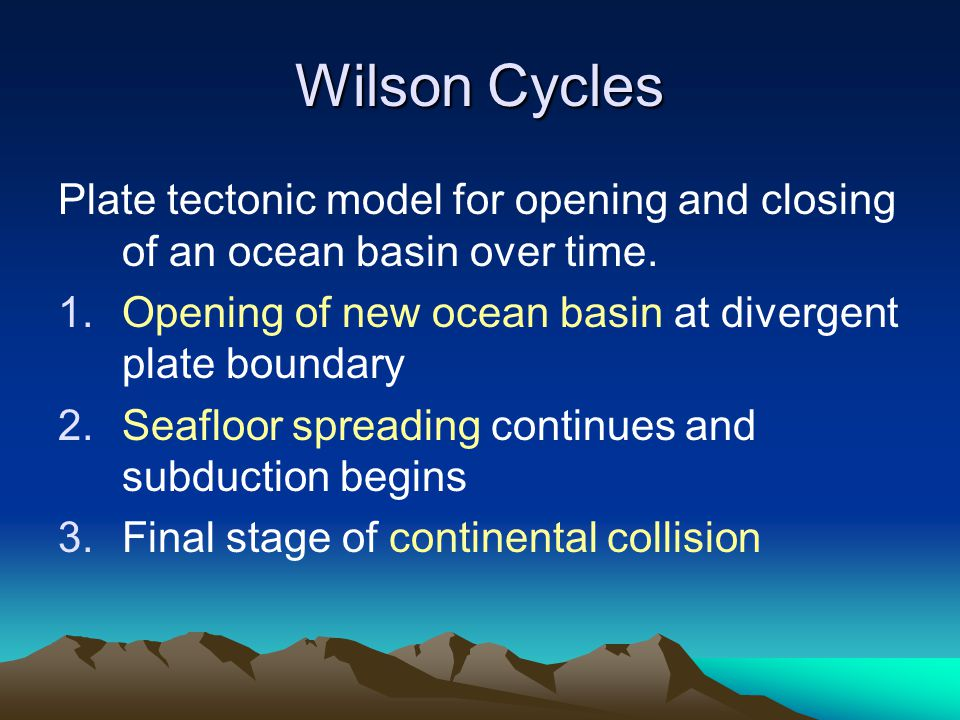 Wilson Cycles Plate tectonic model for opening and closing of an ocean basin over time. Opening of new ocean basin at divergent plate boundary.