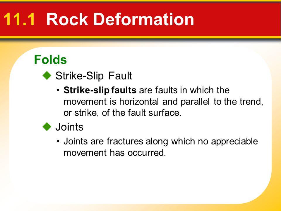 11.1 Rock Deformation Folds  Strike-Slip Fault  Joints