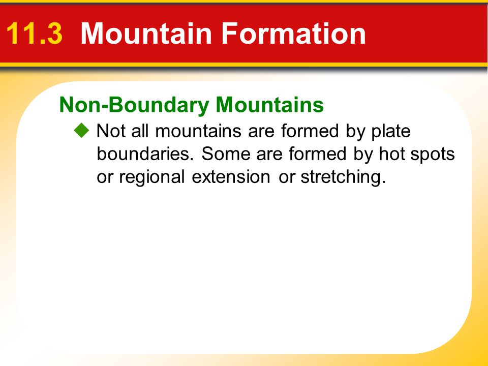 11.3 Mountain Formation Non-Boundary Mountains
