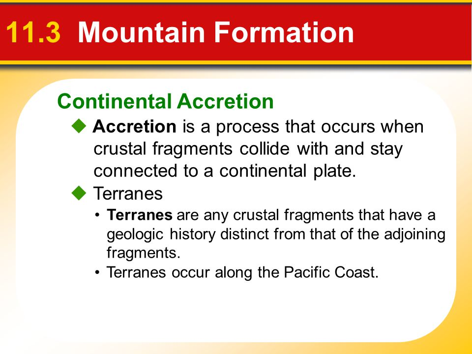 11.3 Mountain Formation Continental Accretion