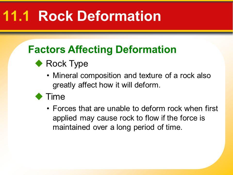 11.1 Rock Deformation Factors Affecting Deformation  Rock Type  Time