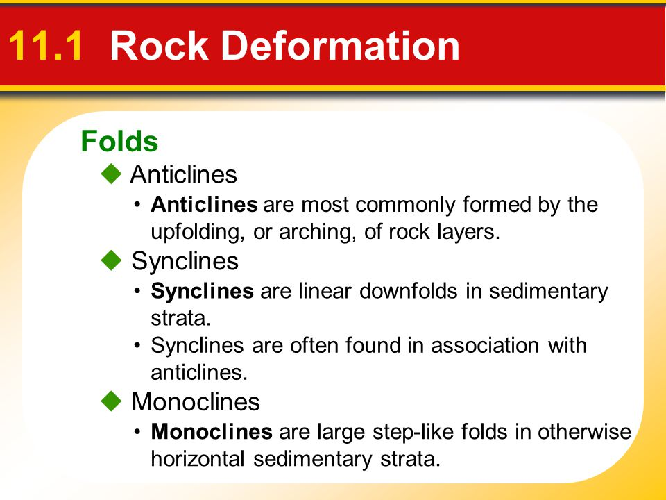 11.1 Rock Deformation Folds  Anticlines  Synclines  Monoclines