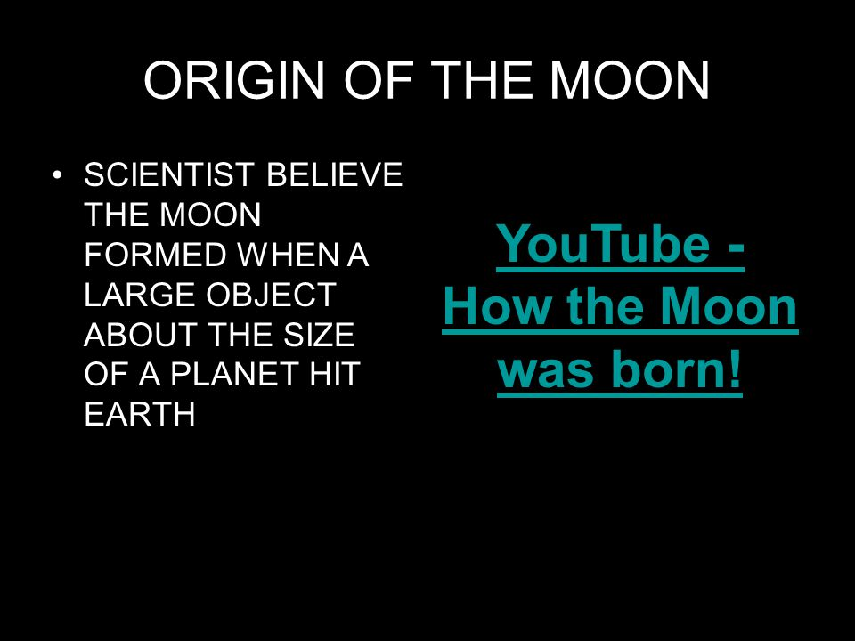 YouTube - How the Moon was born!