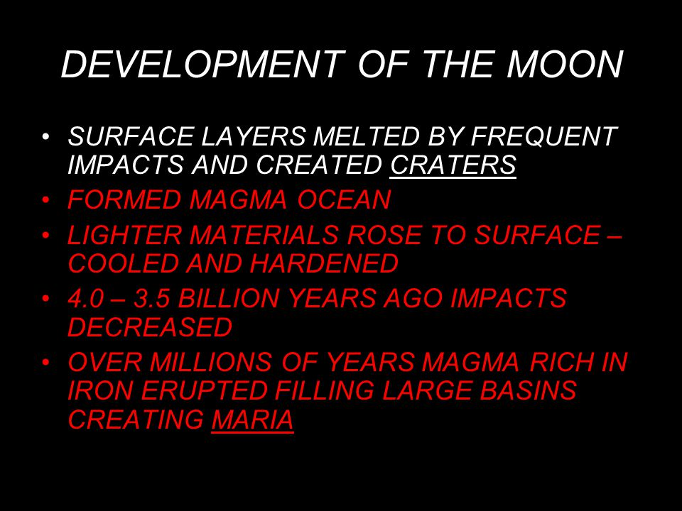 DEVELOPMENT OF THE MOON