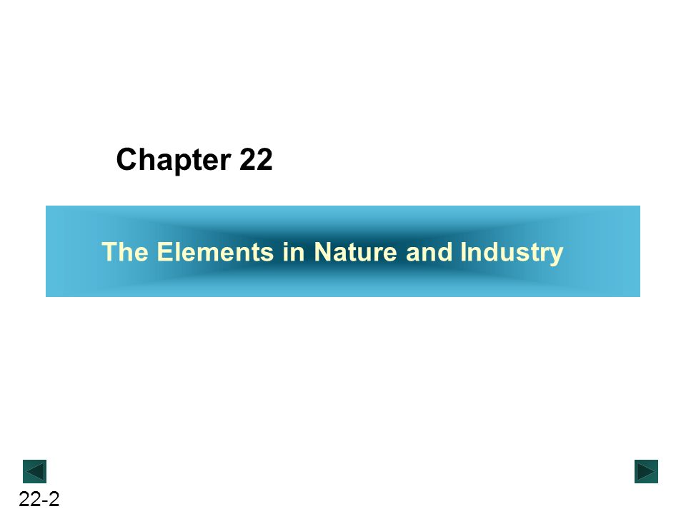 Chapter 22 The Elements in Nature and Industry
