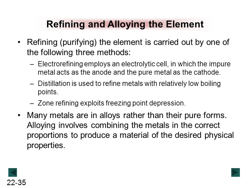Refining and Alloying the Element