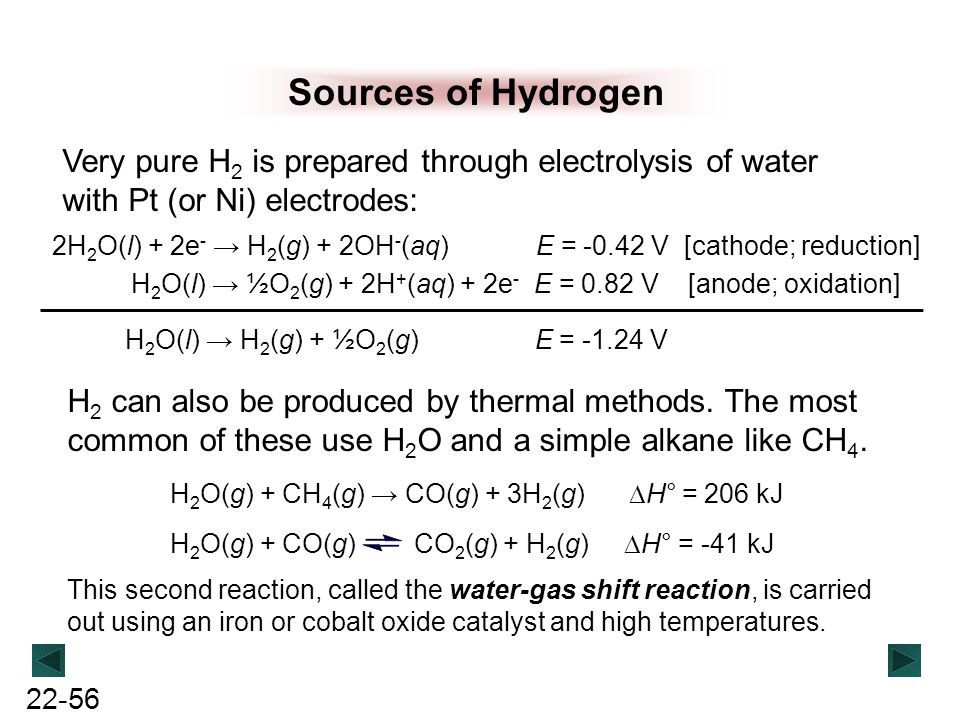 Sources of Hydrogen Very pure H2 is prepared through electrolysis of water with Pt (or Ni) electrodes: