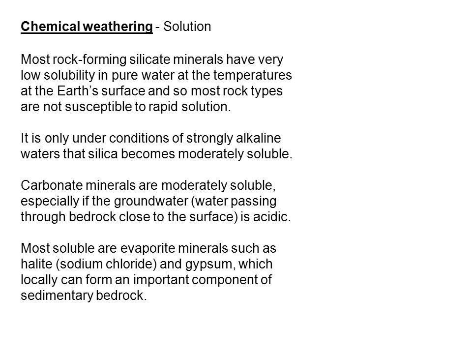 Chemical weathering - Solution
