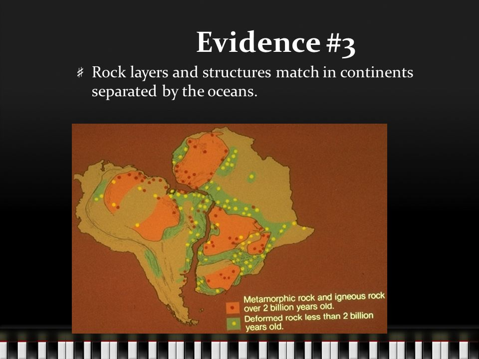 Evidence #3 Rock layers and structures match in continents separated by the oceans.
