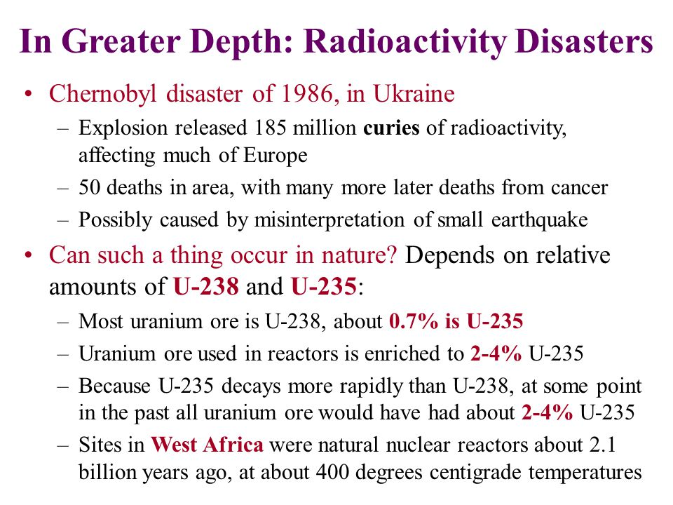 In Greater Depth: Radioactivity Disasters