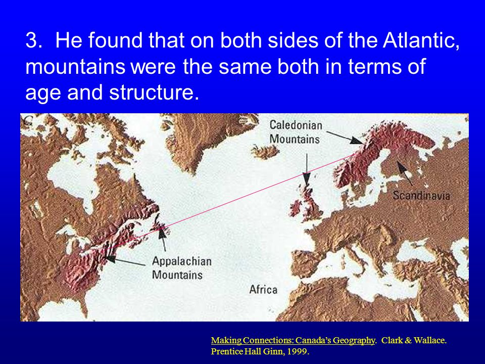 3. He found that on both sides of the Atlantic, mountains were the same both in terms of age and structure.