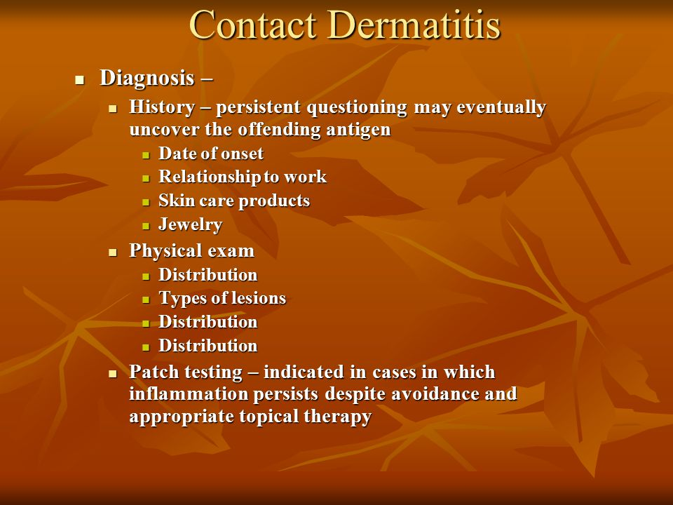 Contact Dermatitis Diagnosis –