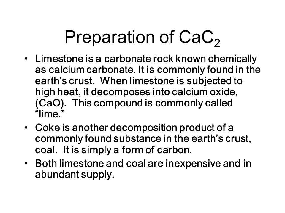 Preparation of CaC2