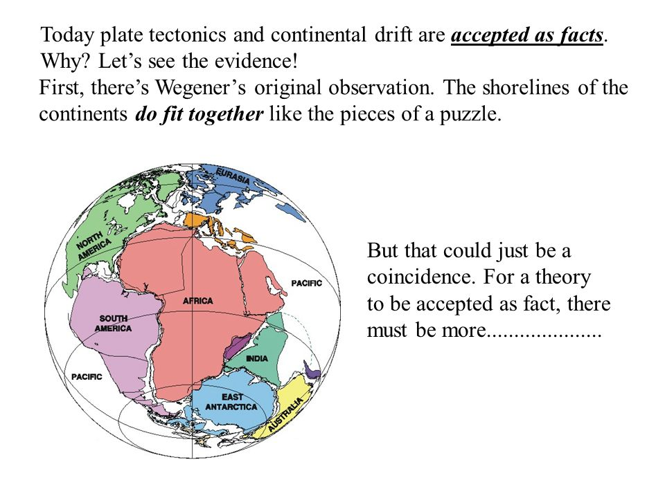 Today plate tectonics and continental drift are accepted as facts.