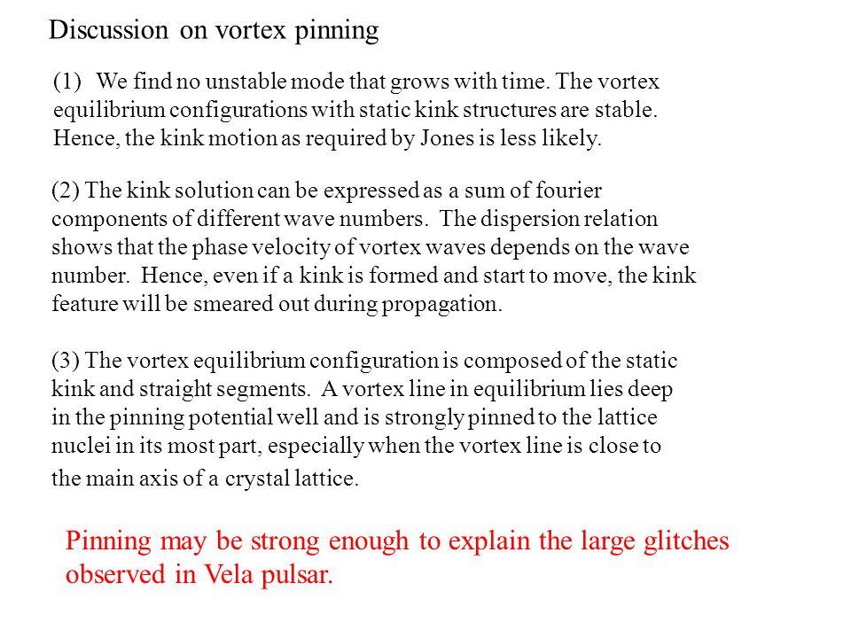 Discussion on vortex pinning