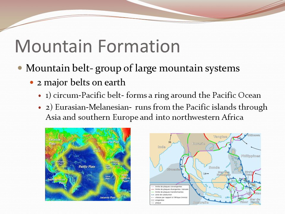 Mountain Formation Mountain belt- group of large mountain systems