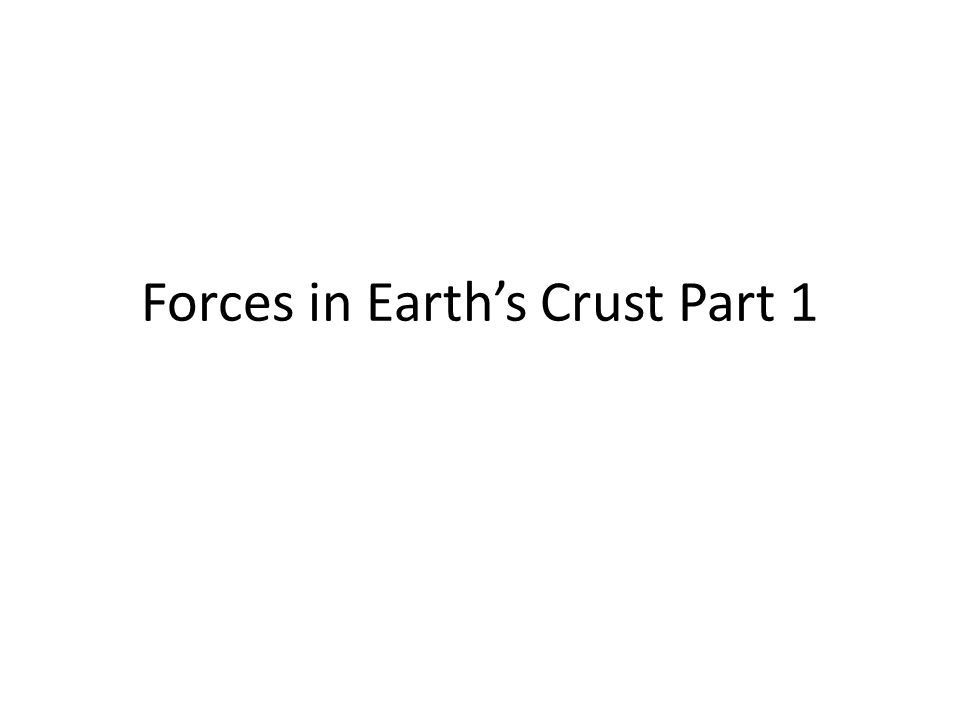 Forces in Earth's Crust Part 1