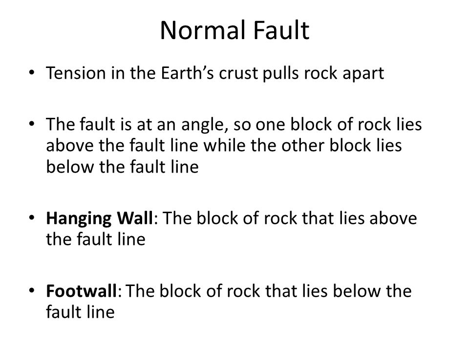 Normal Fault Tension in the Earth's crust pulls rock apart