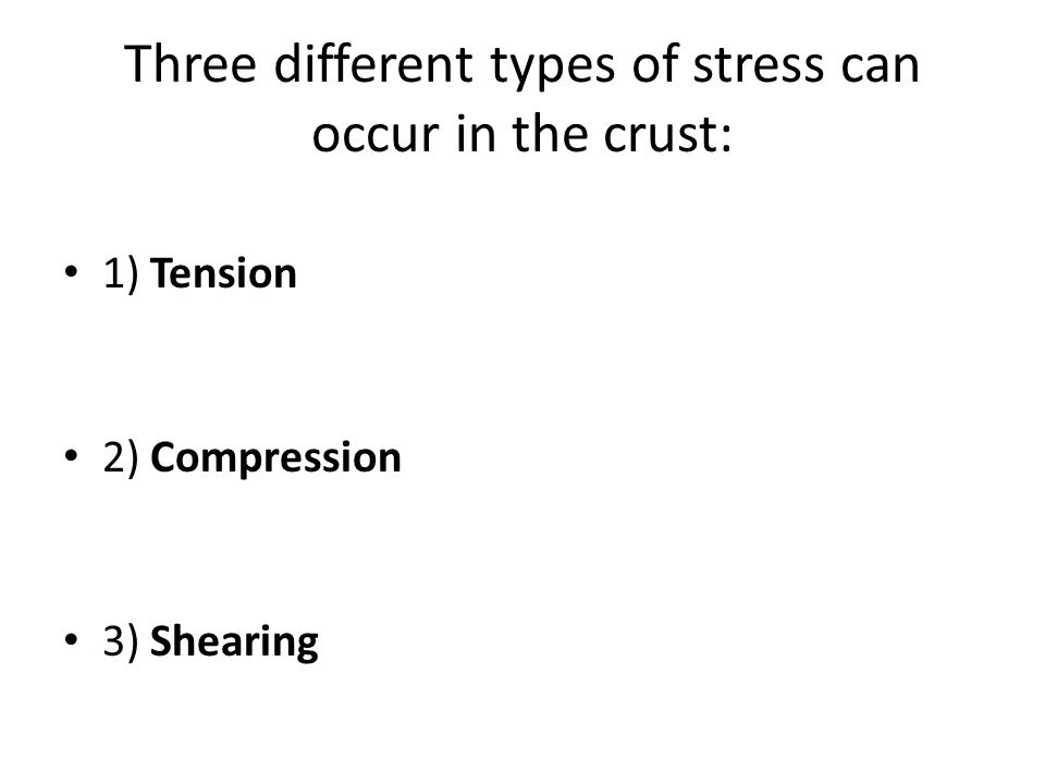 Three different types of stress can occur in the crust: