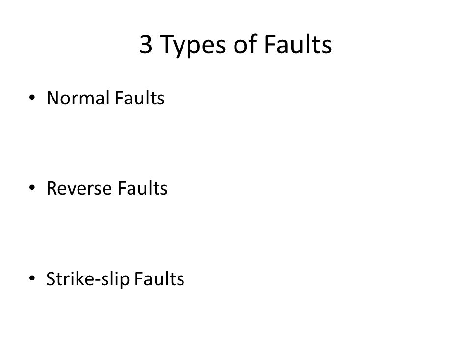 3 Types of Faults Normal Faults Reverse Faults Strike-slip Faults
