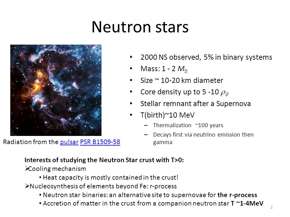 Neutron stars 2000 NS observed, 5% in binary systems Mass: 1 - 2 M☉