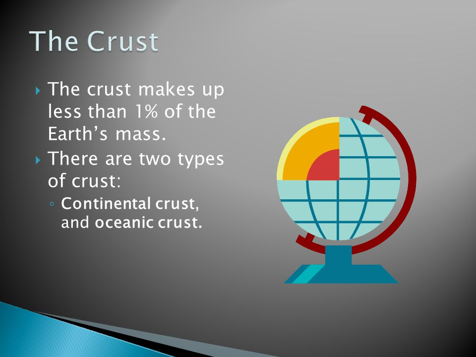 The Crust The crust makes up less than 1% of the Earth's mass.