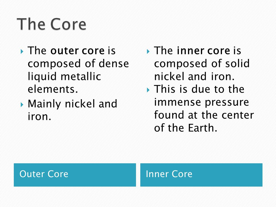 The Core The outer core is composed of dense liquid metallic elements.