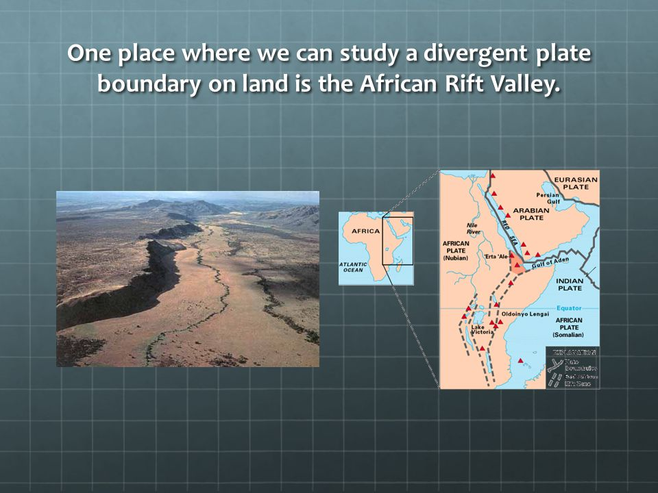 One place where we can study a divergent plate boundary on land is the African Rift Valley.