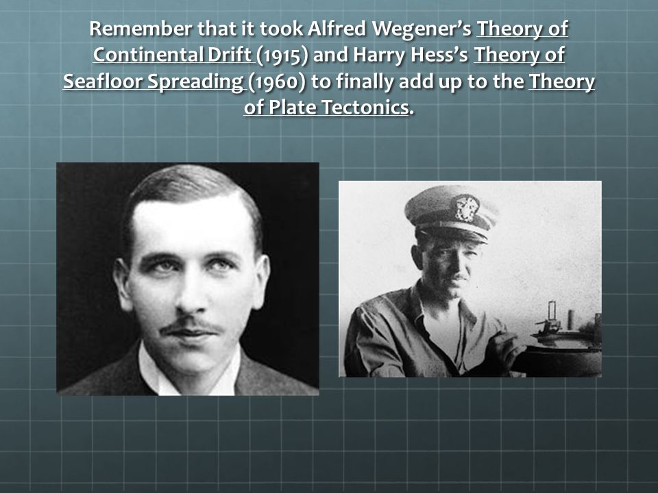 Remember that it took Alfred Wegener's Theory of Continental Drift (1915) and Harry Hess's Theory of Seafloor Spreading (1960) to finally add up to the Theory of Plate Tectonics.