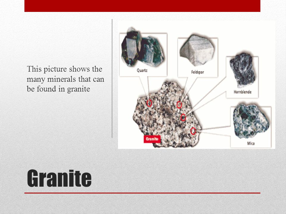 This picture shows the many minerals that can be found in granite