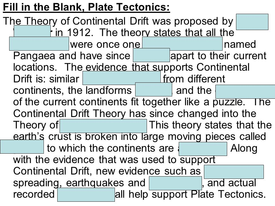Fill in the Blank, Plate Tectonics: