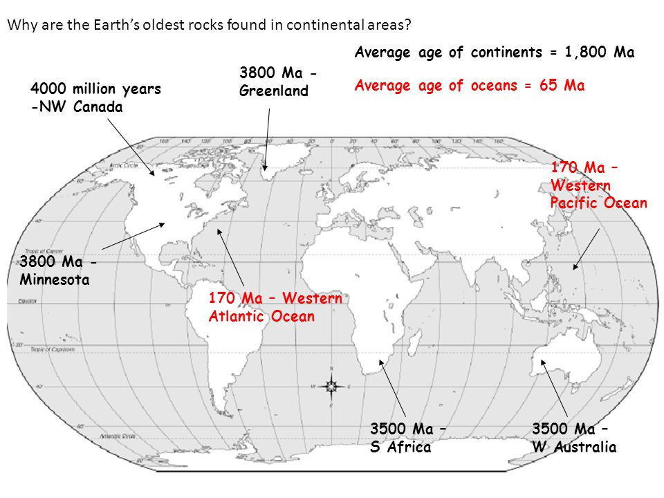 Why are the Earth's oldest rocks found in continental areas