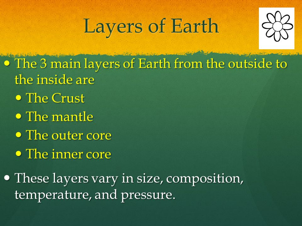 Layers of Earth The 3 main layers of Earth from the outside to the inside are. The Crust. The mantle.