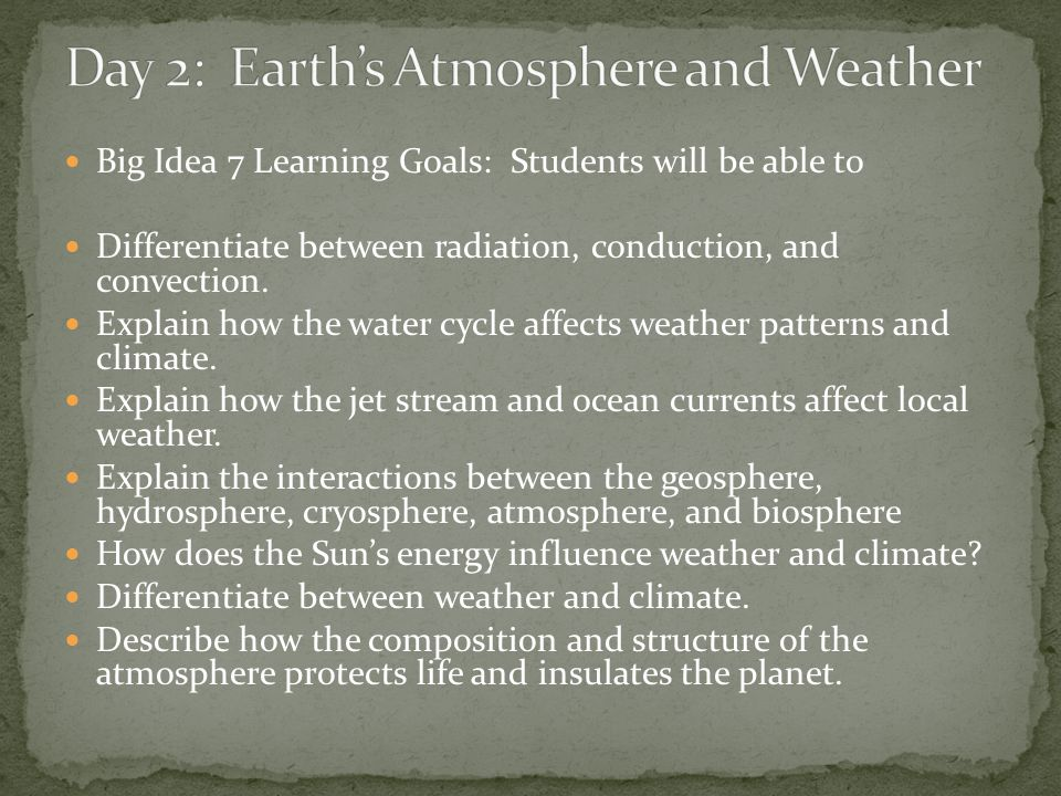 Day 2: Earth's Atmosphere and Weather