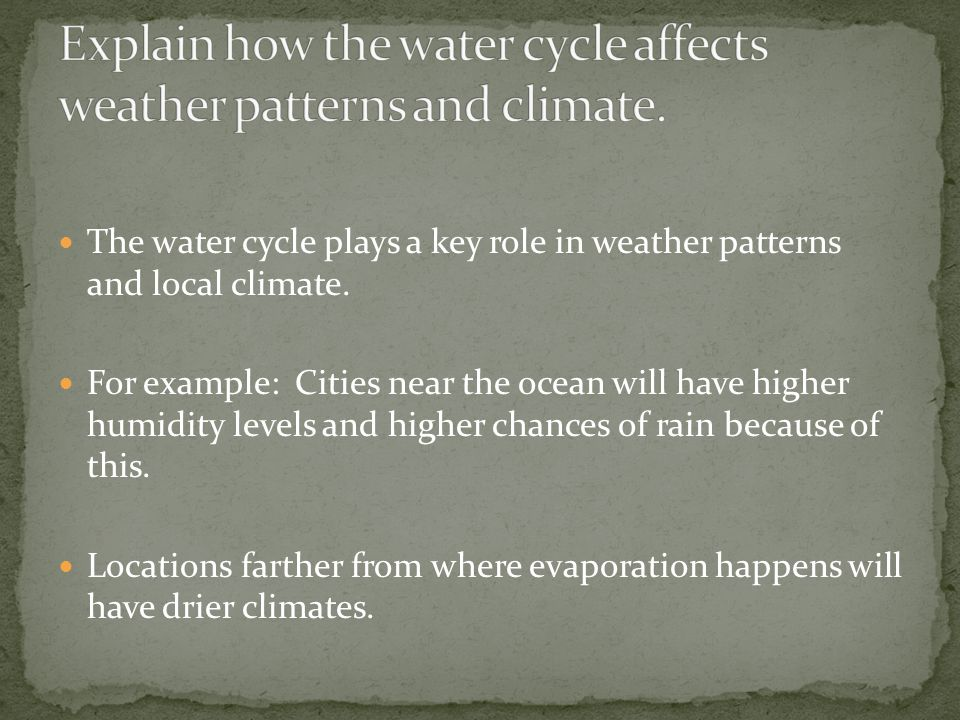 Explain how the water cycle affects weather patterns and climate.