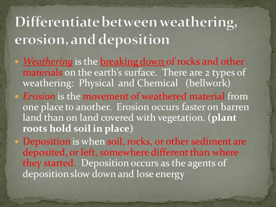 Differentiate between weathering, erosion, and deposition