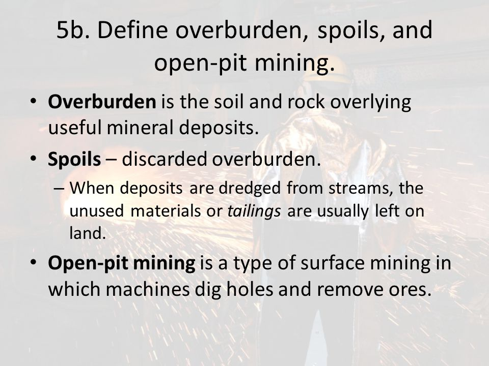 5b. Define overburden, spoils, and open-pit mining.