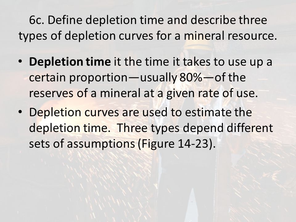 6c. Define depletion time and describe three types of depletion curves for a mineral resource.