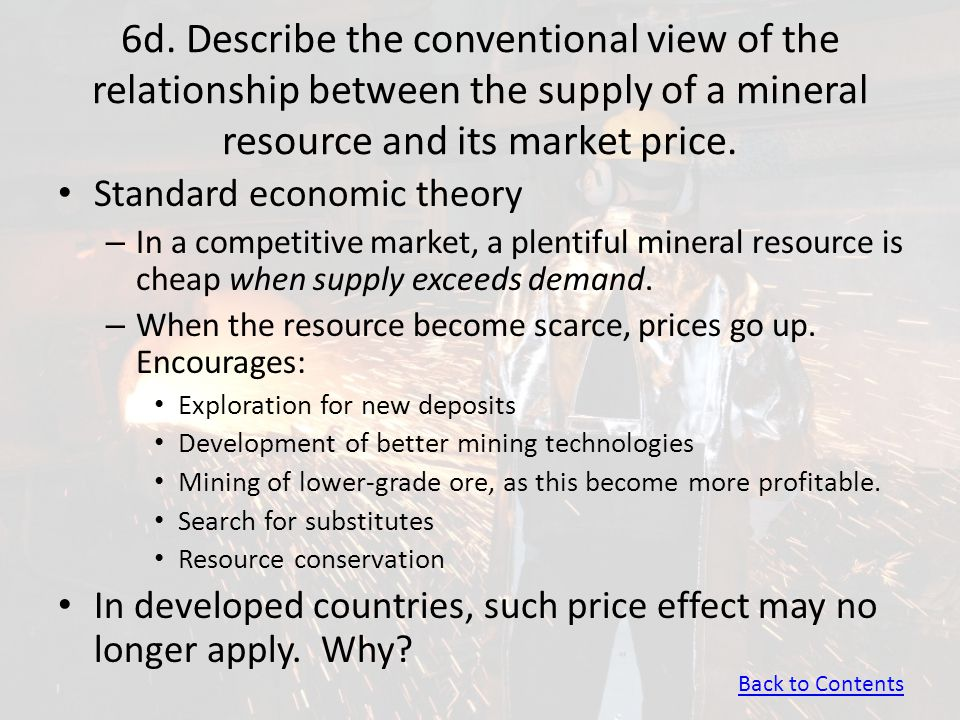 6d. Describe the conventional view of the relationship between the supply of a mineral resource and its market price.