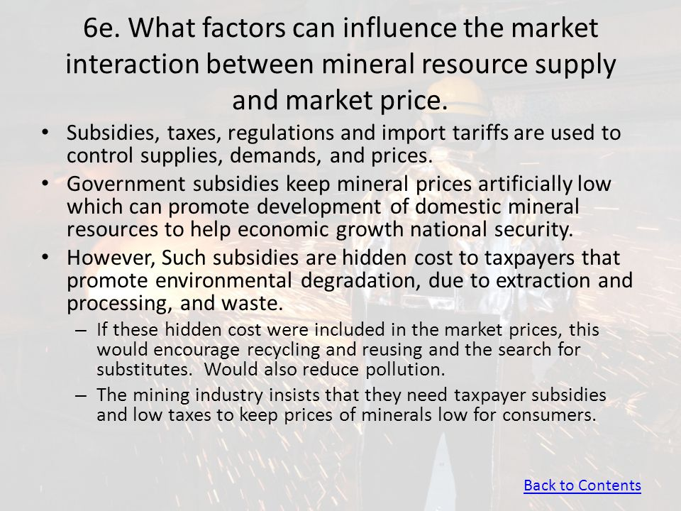 6e. What factors can influence the market interaction between mineral resource supply and market price.