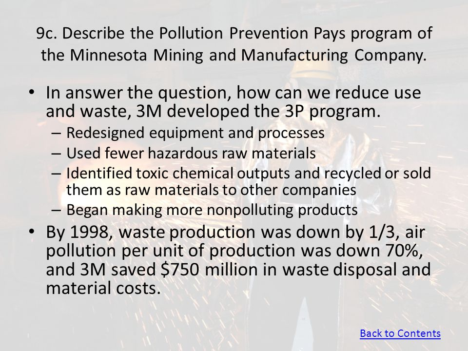 9c. Describe the Pollution Prevention Pays program of the Minnesota Mining and Manufacturing Company.