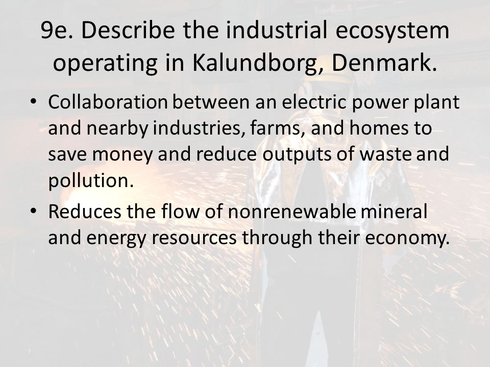 9e. Describe the industrial ecosystem operating in Kalundborg, Denmark.
